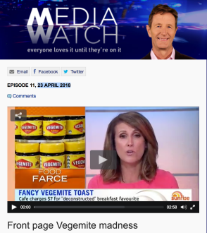 Media Watch_Front Page Vegemite Madness